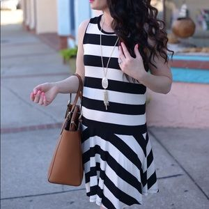 LOFT Striped Sleeveless Dress